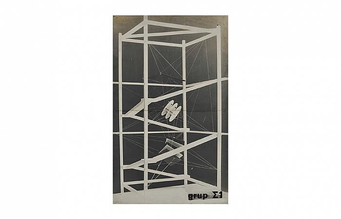 Sigma 1 SPATIAL PROJECT, 1968-1969 Collage gelatine silver print on wood panel 131x68x3 cm