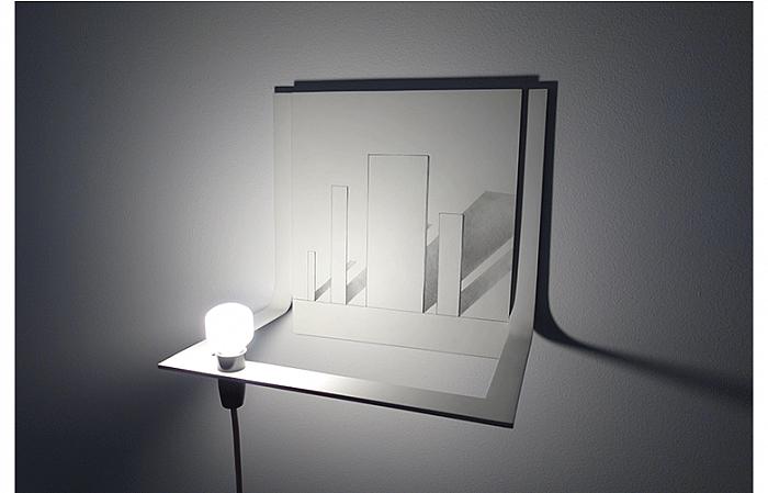 ONE'S LIFE 2009, wood panel/drawing/light bulb/metal 36x26x33 cm