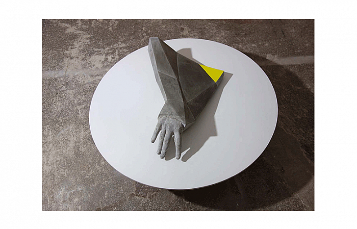 YELLOW TRIANGLE, concrete/paint/metal/wood  2013, 7 4x74x30 cm