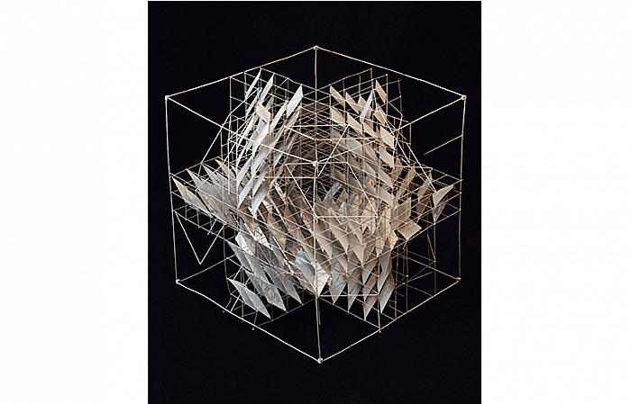 STRUCTURING THE CUBE, metal surfaces, zinc coated wire 51x51x51cm, 1974