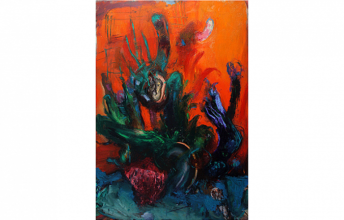 STILL LIFE WITH CUCUMBER AND EGGPLANT, oil on canvas, 200x140 cm, 2011