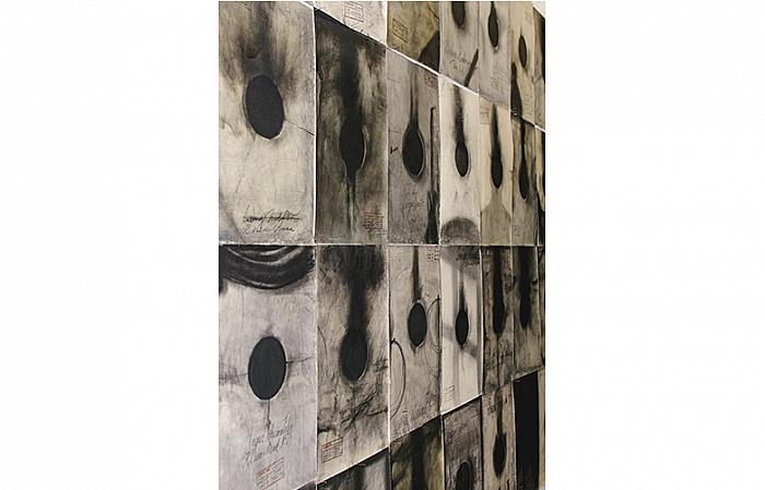 Cristian Opriș, Kli-Schink, cărbune, fum pe hârtie, 1998