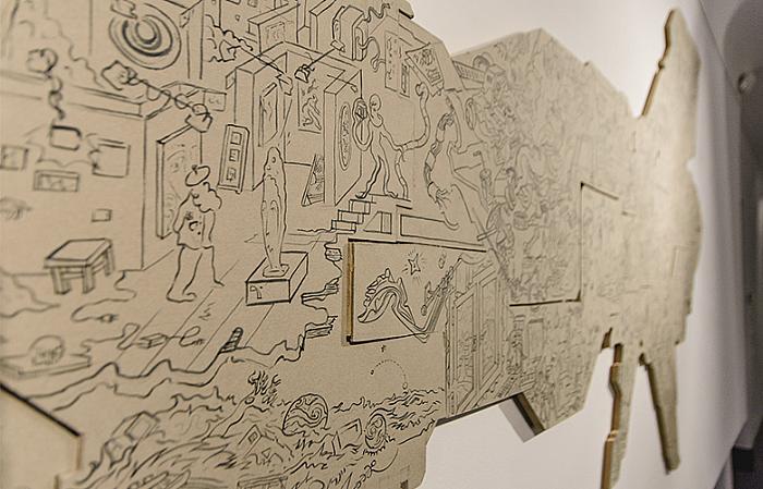 Mi Kafkin, Colecționarul din spațiu 2, creion pe mucava, 2015, colecție privată