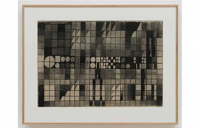 Constantin Flondor - BACKLIGHT I (Medias Forest I), 1976 Charcoal on paper 70 x 100cm